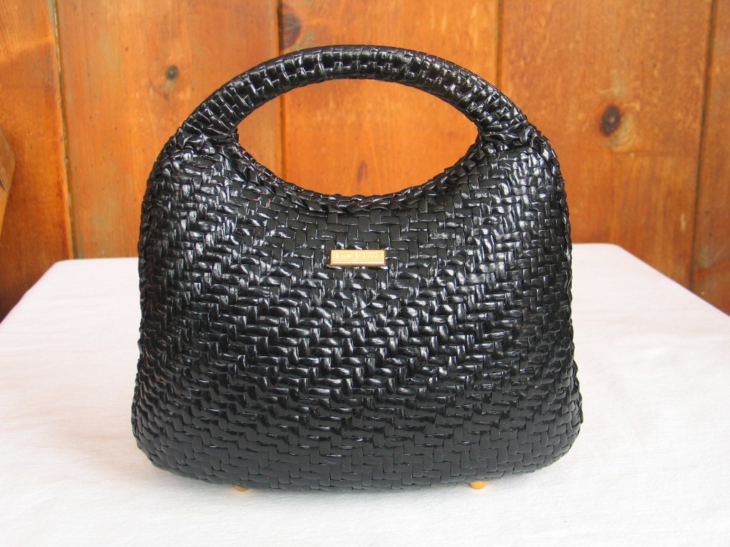 Vintage Black Wicker Basket Handbag By Eric Javits By