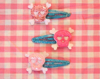 Set of 3 Mini Sparkly Sequiny Skull Clips FREE SHIPPING