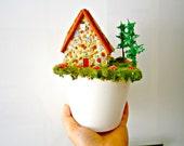 Fairy garden MINIATURE COTTAGE, Farm in White Pot, Miniature House SALE