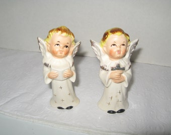 Pair of Singing Angels White and Gold Japan One Holds Cross One Holds Book
