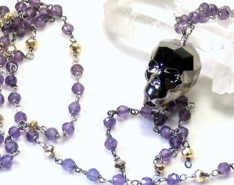 Amethyst Skull Necklace Gothic Halloween