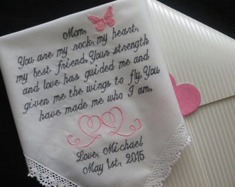 Choose 30 words. Gift for Mother of the Bride Custom Embroidered Wedding Handkerchief. Free Gift Box Included with each Hanky that you order