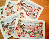 vintage Hallmark CHRISTMAS postcards mouse family feast dinner set of 5