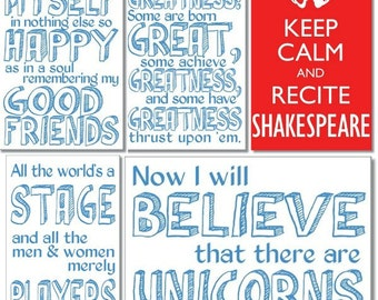 Shakespeare quote postcards - set of 5 - Twelfth Night, As You Like It, RIchard II, Tempest and Keep Calm