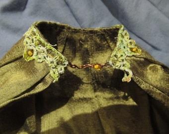BJD Cloak Green Silk Fantasy Doll Cape SD or MSD Doll Elven Fashion