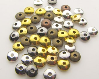 Tibetan round spacer beads,6mmX2mm, mixed colors, 1.5mm hole, 25 pieces