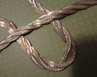 Gold Sterling Silver Necklace & Bracelet 925 Braid Weave Braided Weaved Birthday Gift Wedding Bride Groom Silver Braid