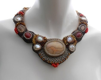 Blending In, a OOAK Bead Embroidered statement neckpiece