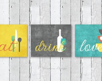 Kitchen Wall Art Print Set - Eat Drink Love -  Mustard-Yellow, Grey, Coral, Aqua-Teal // Modern Kitchen Decor // Set of (3) Many Sizes