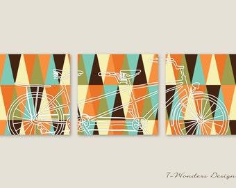 Tandem Bicycle Art with modern Geometric Triangle Patterns Digital Fine Art Prints // Set of (3) Prints 12x12 // Modern Bike Decor, Unframed