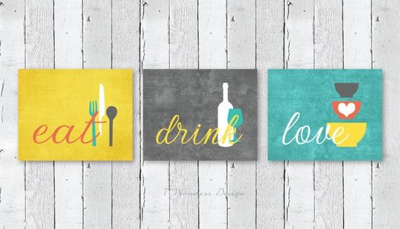 Kitchen wall art print set eat drink love mustard yellow for Modern kitchen wall art