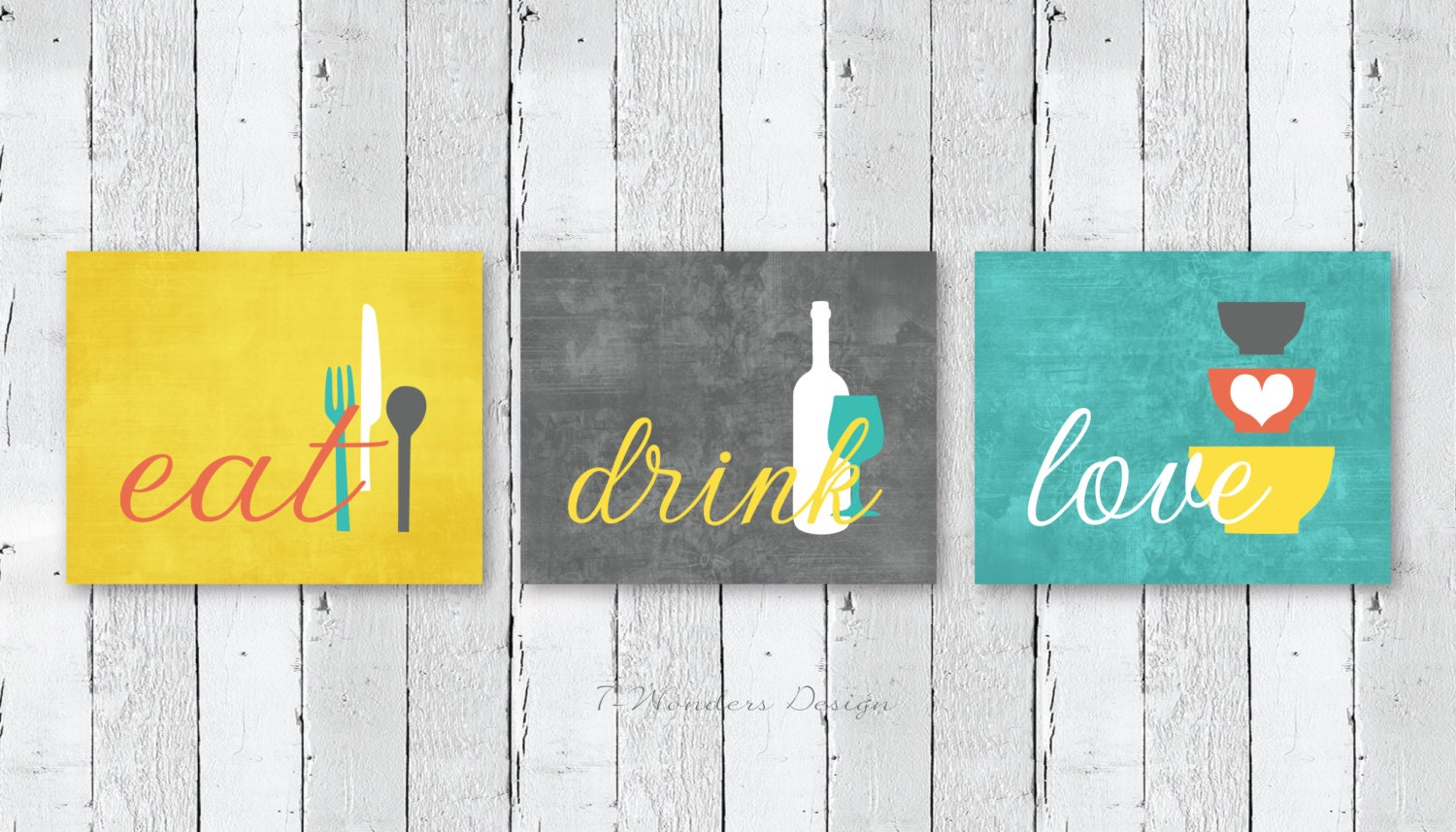Kitchen Wall Art Print Set Eat Drink Love Mustard Yellow Grey