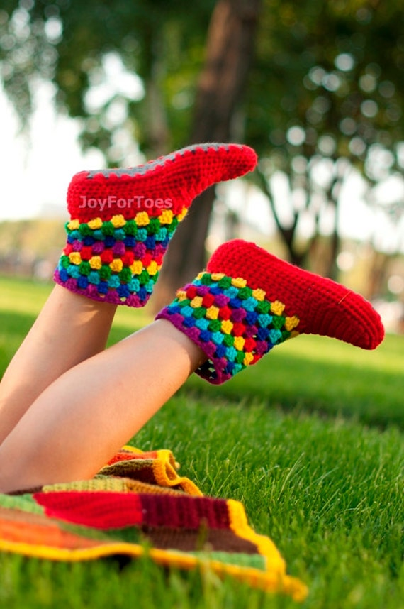 Girlfriend gift Crochet Boots Women Homemade Slippers Joy Rainbow Crocheted Slippers Women Fashion Shoes Gifts for her Green Trending Items