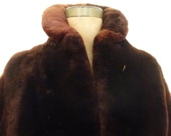 Fur Jacket Vintage Mouton Lamb Short Chubby Coat Size S 1950s