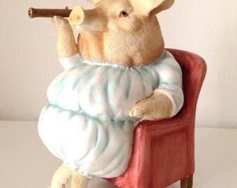 SALE- Vintage Ceramic Figurine pig mother piggy banks