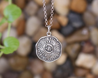 Cancer keyword pendant of Astrology Zodiac Sign, Birthday gifts, Sterling Silver Chain Included.
