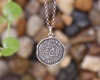Capricorn Keyword Pendant of Astrology Zodiac Sign, Birthday gifts, Sterling Silver Chain Included.