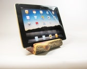 Juniper wood iphone stand, iphone dock, wood Android stand, cell phone stand.