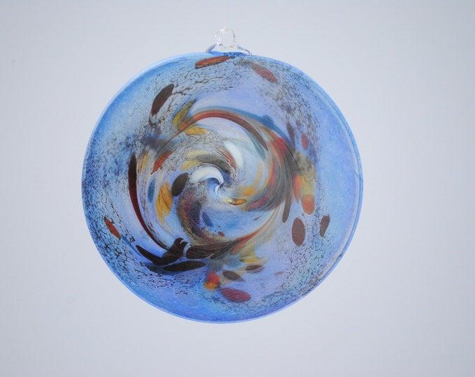 e00-65 Flat Iridescent Disc Ornament Light Blue