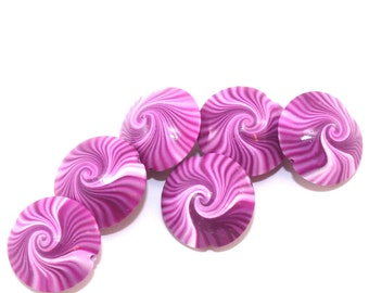 Polymer clay swirl beads in pink and white, lentil Beads, unique pattern, set of 6 elegant pink beads, focal beads for jewelry making
