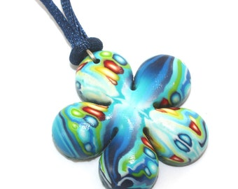 Gift for girls and teens, flower shaped necklace, polymer clay pendant in blue turquoise, green red and orange, elegant gift for women