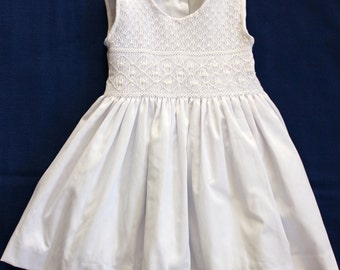 White dress with hand smocked bodice