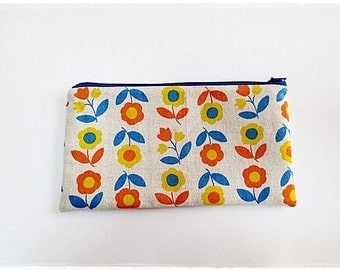 Large zip pouch purse cosmetic pouch travel organizer pouch pencil case yellow orange sunflower