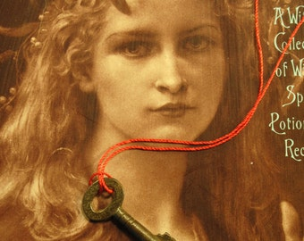 Good Luck Charm Amulet antique KEY AMULET charm on red string for love protection charm oppertunity spirit Antique Spell circa 1890 England