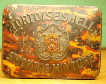 ANTIQUE Tortoiseshell Brand Cigarette Tin Cigar Tobacco lovely charming much loved made in ENGLAND brown gold rose gold Home Decor storage