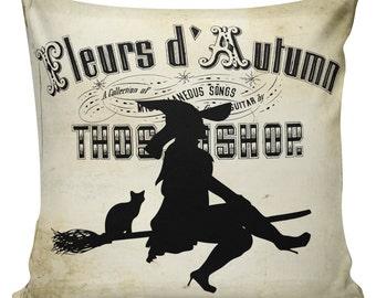 Halloween Pillow Cushion Witch Silhouette Gift Cotton and Burlap #HA0161 Elliott Heath Designs
