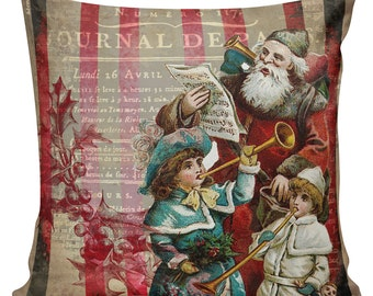 Christmas Pillow Cover Vintage French Style Burlap Cotton Throw Pillow Red Santa Winter Cotton & Burlap CH-49