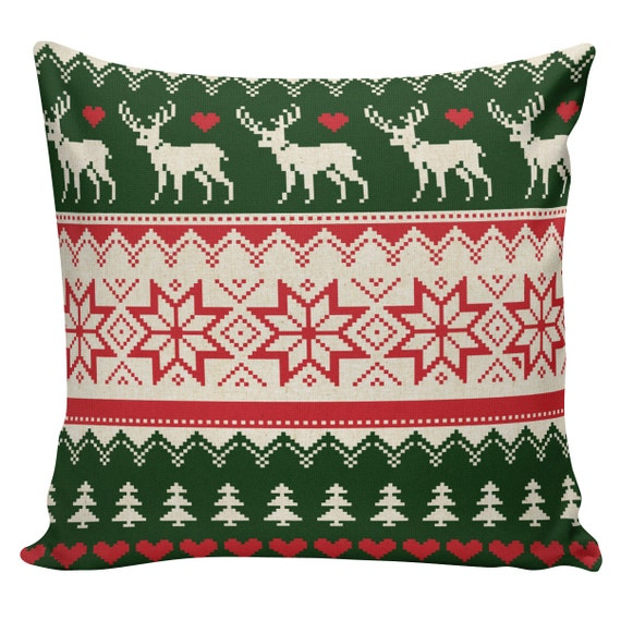 Scandinavian Christmas Pillow : Holiday Pillow Cover Swedish Scandinavian Christmas Sampler