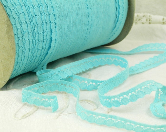 1 Yard of Vintage French Pale Sky Blue Lace Ribbon /Trim / Tape / Vintage Haberdashery / Retro Craft Supplies / Sewing / Dentelle / France