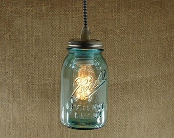 Mason jar pendant lamp kit diy standard size vintage blue mason jar pendant lamp with vintage style black and white fabric cord aloadofball Image collections