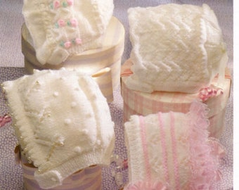 baby knitting pattern for vintageBABY knitting pattern for fancy girl bonnets 4 ply dk 0/2 yearst