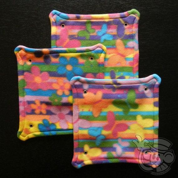 Fleece Rat Hammock: Multi Stripe Butterflies and Flowers 10-inch Square