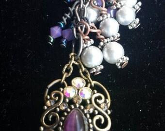 Purple charm, zipper pull, pearls, swarovski, key chain
