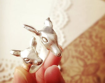DARKWHISPER Retro Exquisite Handmade 925 Silver Elf Deer Ring Easter Animal Gift