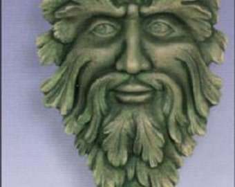 "Green man wall plaque ready to paint 14"" x 9 1/2"" ceramic bisque"