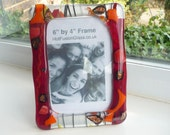Autumn Framed Picture Frame 4 by 6 inch Metal Frame with Fused Glass Deep Red,Orange,Yellow,Black with Copper and Antique Gold Accents Gift