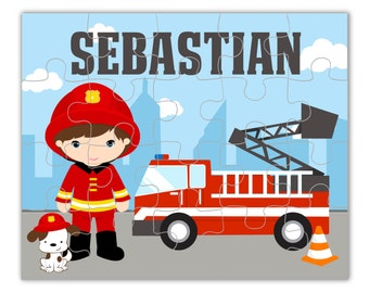 Fire Truck Personalized Puzzle - Cute Little Boy Fireman and Red Firetruck, You Pick Hair Eye Color Fire Man Puzzle - Kids Personalized Gift