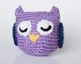 Crocheted Owl - Cute Little Lavender Purple, Amigurumi Stuffed Animal, Woodland Owl - Perfect for Babies and Toddlers - Fun Stocking Stuffer