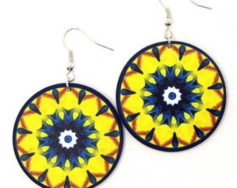 Statement earrings, navy blue yellow jewelry, earrings for girl, trendy earrings, colorful jewelry, yellow drop earrings, shabby chic, gypsy