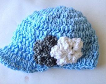 Blue Crochet Visor Beanie NB through 5T