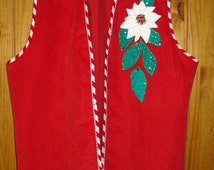Christmas Vest Candy Cane Trim Sequined Poinsettas Holiday Vest Elizabeth Taylor OOAK