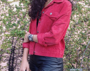 Red Suede Leather Jacket Large