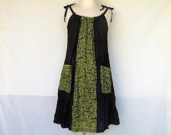Linen Sundress, Black dress, Sari print cotton, Handmade, Linen Clothing, Pinafore, Jumper, Maternity, Indian print.