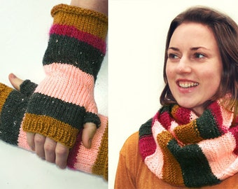 Knitted cowl scarf striped infinity scarf with fingerless gloves custard pink grey