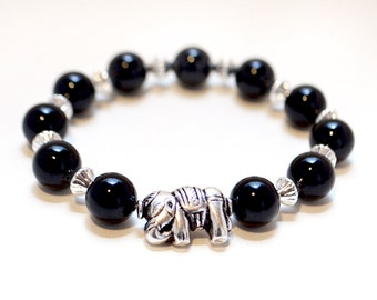Silver Elephant Bracelet, Black Pearl Beads, Beaded Stretch Bracelet, Elephant Jewelry, Silver Bracelet, Bracelets for Women