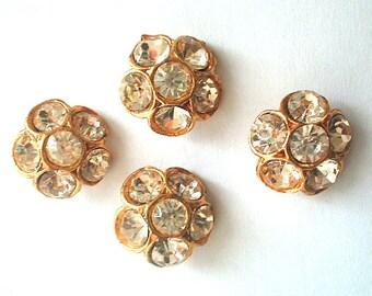 Four Gilded Rhinestone Flower Buttons Vintage Retro Mid Century
